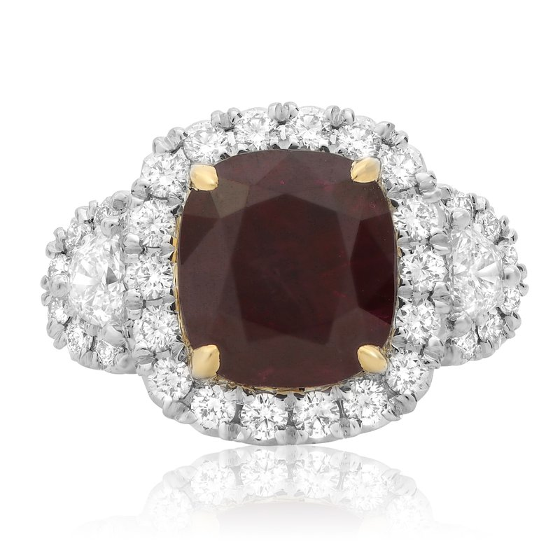 Roman & Jules Platinum Ruby & Diamond Sidestone Ring