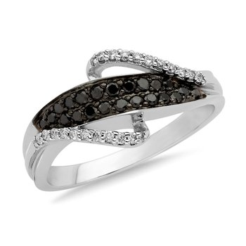 Pave set Black and White Diamond Fashion Ring in 14k White Gold, (1/3 ct.tw.)