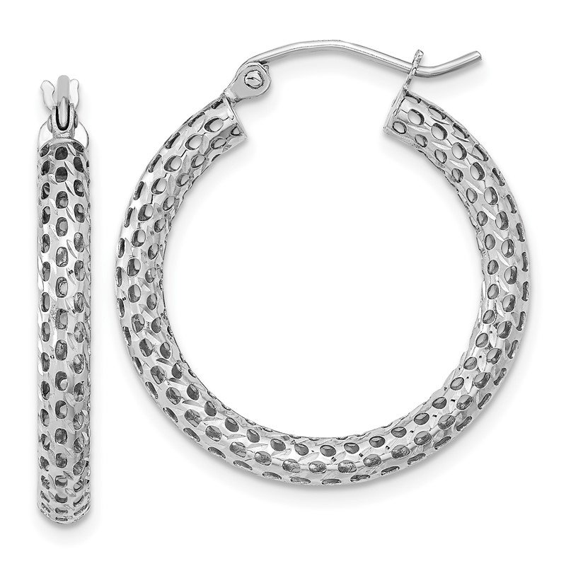 Quality Gold 14k White Gold Mesh Hoop Earrings