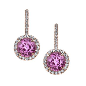 Pink Sapphire & Diamond Earrings