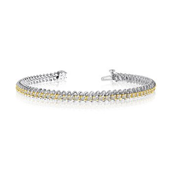 14k White Gold S-Link Diamond Bracelet