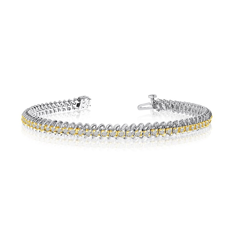 Color Merchants 14k White Gold S-Link Diamond Bracelet