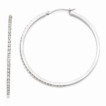 14k White Gold Diamond Fascination Lg Round Hinged Hoop Earrings