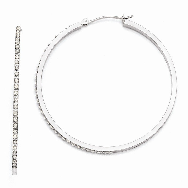 Quality Gold 14k White Gold Diamond Fascination Lg Round Hinged Hoop Earrings
