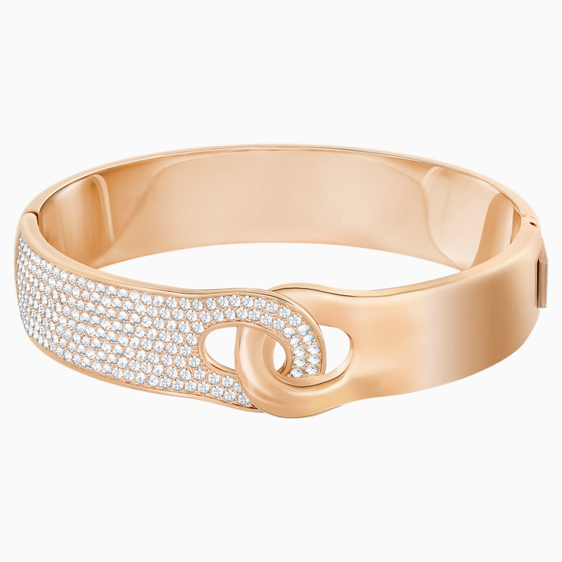 Swarovski Gallon Wide Bangle, White, Rose-gold tone plated