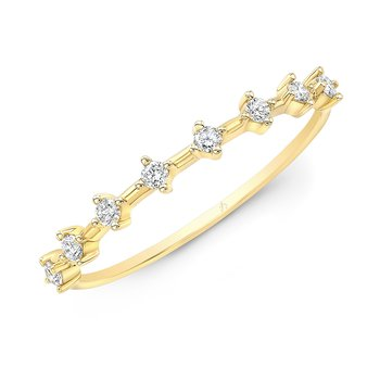 Yellow Gold Staggered Diamond Stackable Band