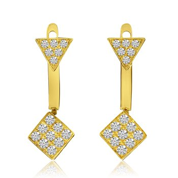 14k Yellow Gold Geometric Double Diamond Earrings