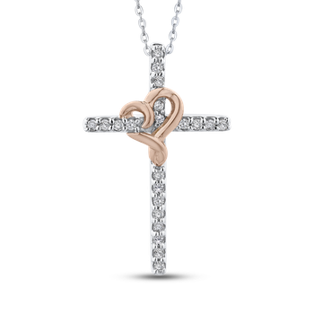 10K White & Rose Gold .14 Ct Diamond Cross Pendant with Chain