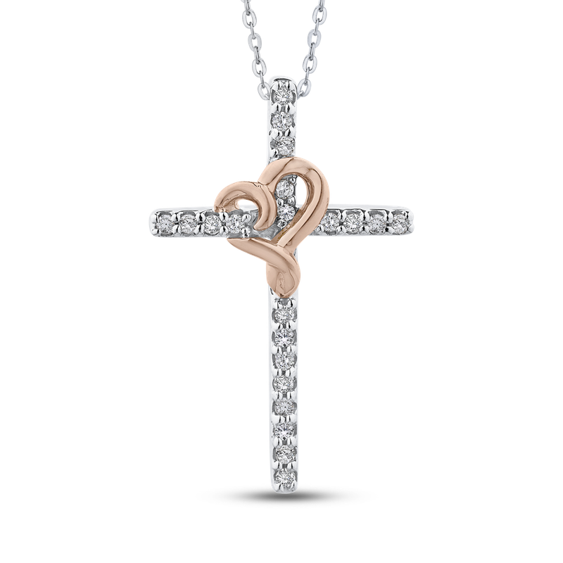 Essentials 10K White & Rose Gold .14 Ct Diamond Cross Pendant with Chain