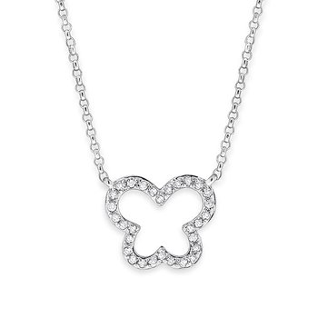 Diamond Butterfly Necklace in 14k White Gold with 30 Diamonds weighing .10ct tw