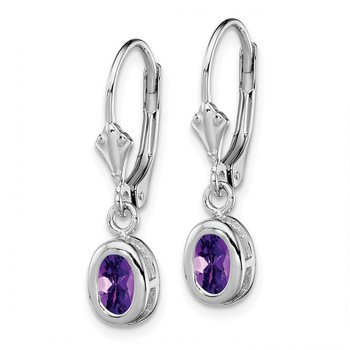 Sterling Silver Rhodium 6x4mm Oval Amethyst Leverback Earrings