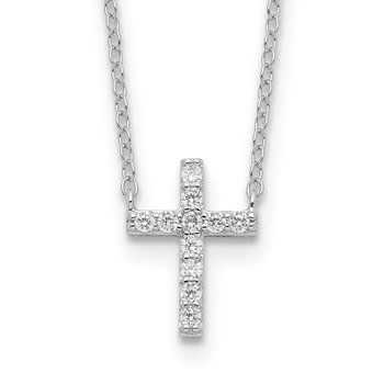 Sterling Silver Rhodium-plated CZ Cross w/2in ext. Necklace