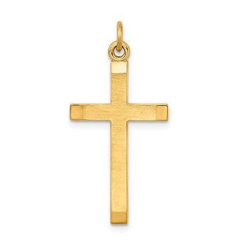 Sterling Silver Gold-plated Polished and Satin Cross Pendant