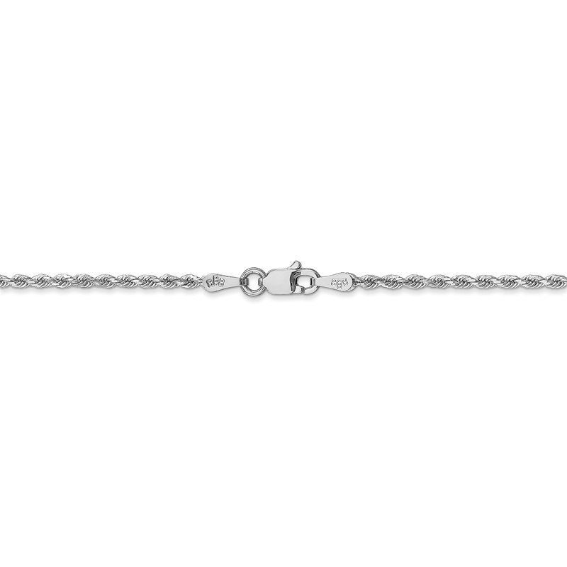 Quality Gold 14k White Gold 1.75mm Diamond-cut Rope Anklet