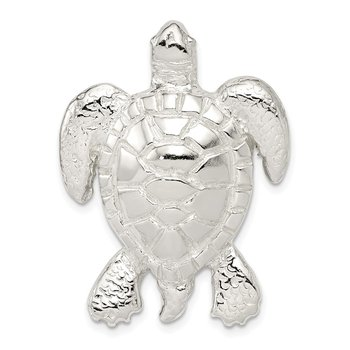 Sterling Silver Polished & Textured Turtle Chain Slide Pendant
