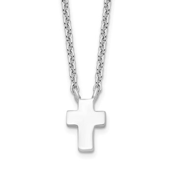 Sterling Silver Rhodium-plated w/2in ext. Polished Cross Necklace