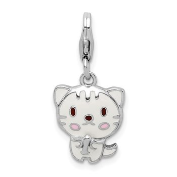Sterling Silver Rhodium-plated Enameled Kitten w/Lobster Clasp Charm