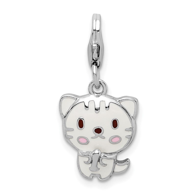 Quality Gold Sterling Silver Rhodium-plated Enameled Kitten w/Lobster Clasp Charm