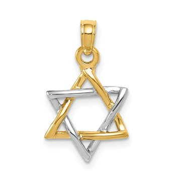 14K Two-tone Polished Star of David Pendant