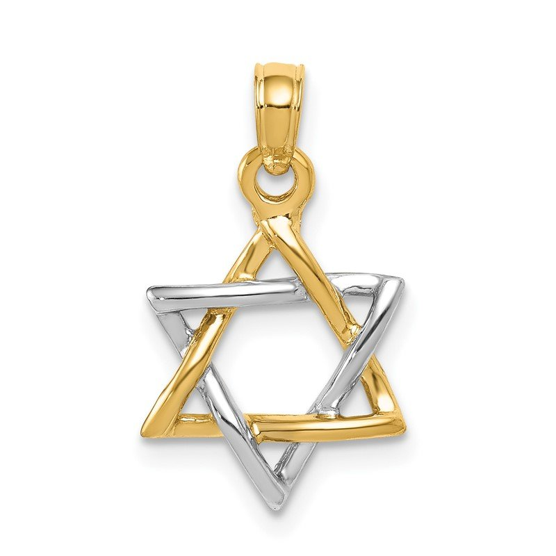 Quality Gold 14K Two-tone Polished Star of David Pendant