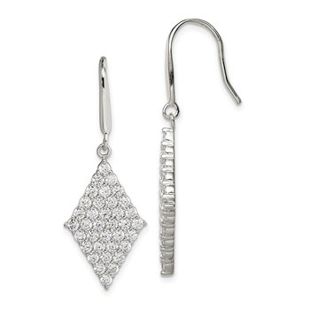 Sterling Silver Polished CZ Shepherd Hook Earrings