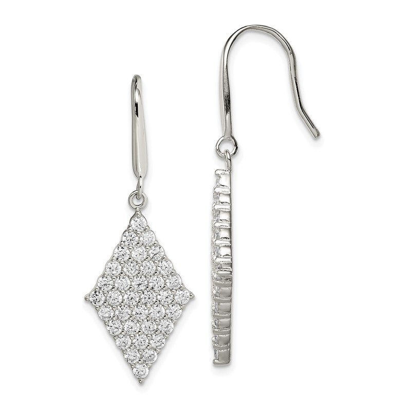 Quality Gold Sterling Silver Polished CZ Shepherd Hook Earrings