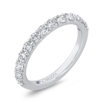 18K White Gold Half Run Diamond Wedding Band with Round Shank
