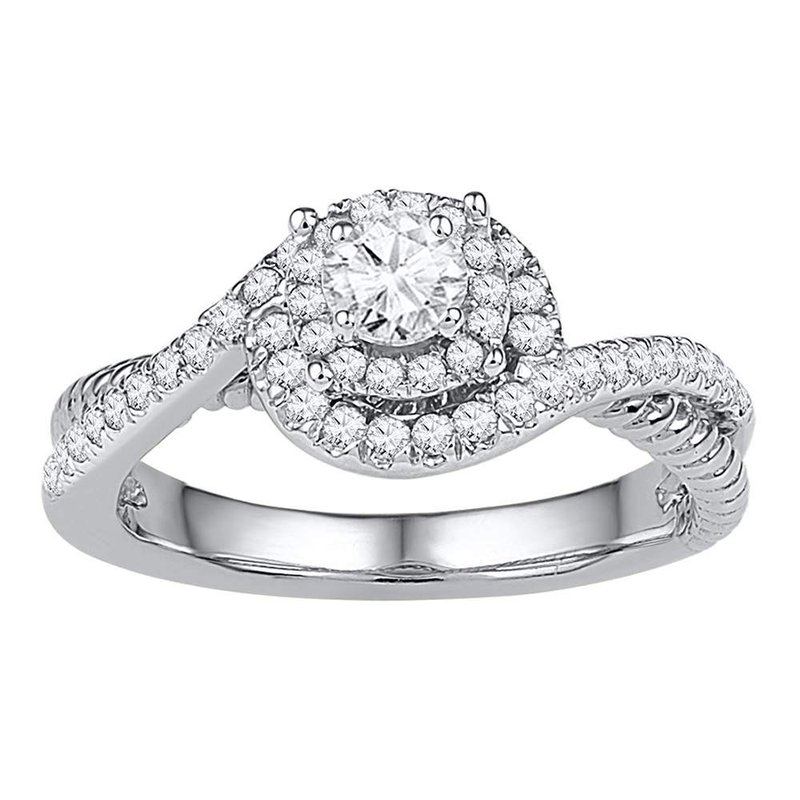 Gold-N-Diamonds, Inc. (Atlanta) 10kt White Gold Womens Round Diamond Solitaire Bridal Wedding Engagement Ring 3/8 Cttw