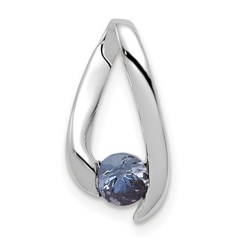 14k White Gold 4mm Tanzanite Pendant