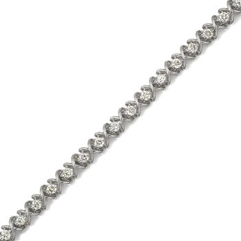 14K White Gold X&O 3.00ctw Round Diamond Bracelet