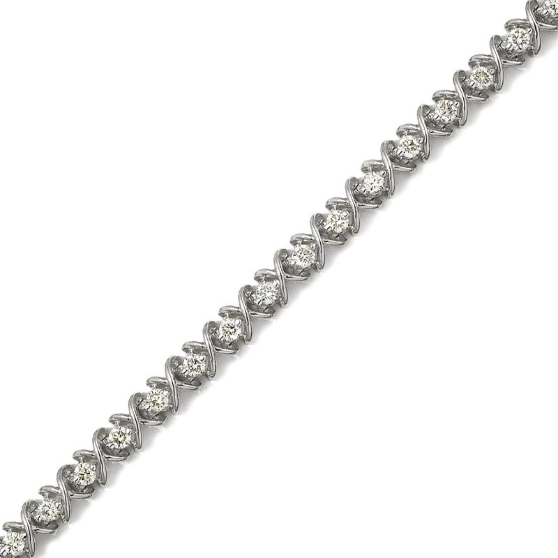 Color Merchants 14K White Gold X&O 3.00ctw Round Diamond Bracelet