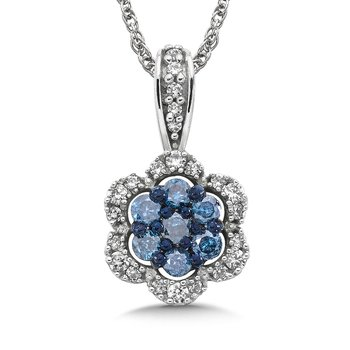 Pave set Blue Cluster and White Diamond Floral Motif Pendant, 10k White Gold  (1/3 ct. tw.)