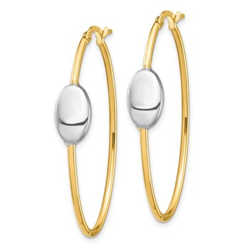 14k & Rhodium Polished Fancy Oval Hoop Earrings