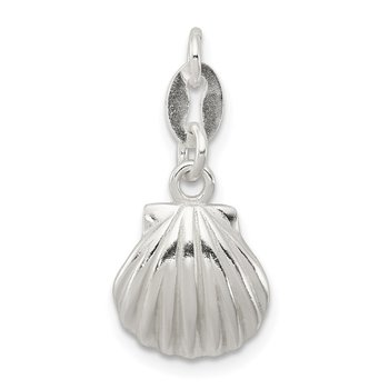 Sterling Silver Polished & Satin Seashell Charm