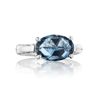 East-West Oval Ring featuring London Blue Topaz