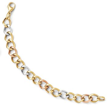Leslie's 14k Tri-color Polished Link Bracelet