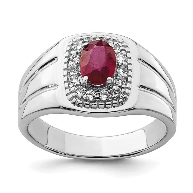 Quality Gold Sterling Silver Men's African Ruby and White Topaz Ring