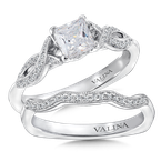 Valina Mounting with side stones .12 ct. tw., 5/8 ct. Princess cut center.