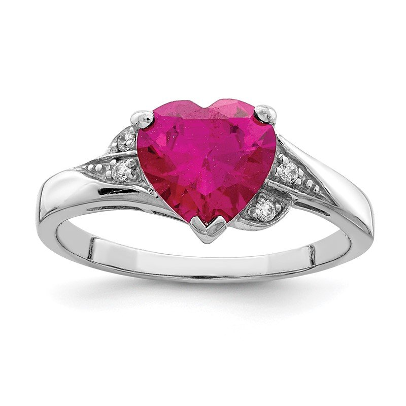 Quality Gold Sterling Silver Rhodium-plated w/CZ and Synthetic Ruby Heart Ring