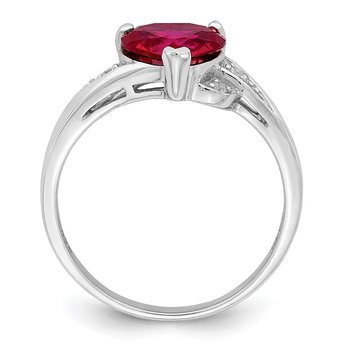 Sterling Silver Rhodium-plated w/CZ and Synthetic Ruby Heart Ring
