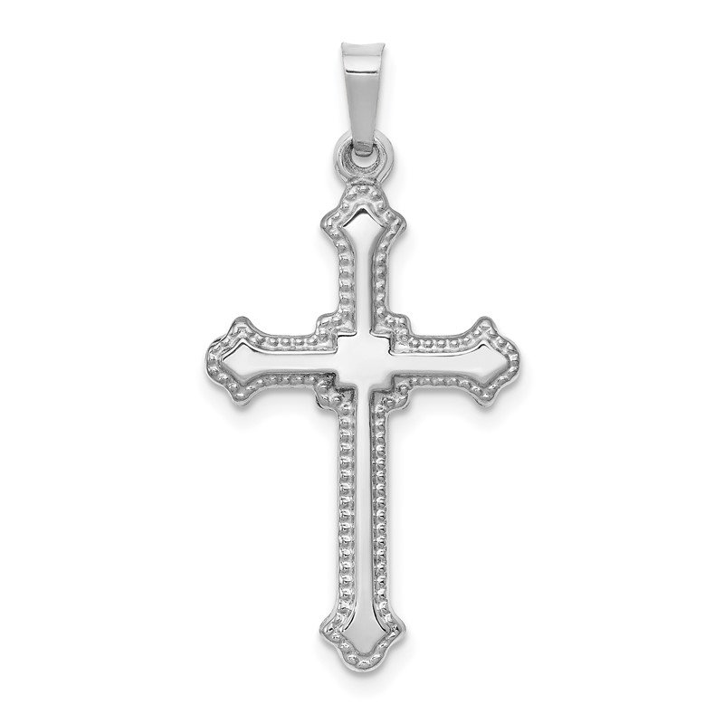 Quality Gold 14k White Gold Polished Cross Pendant