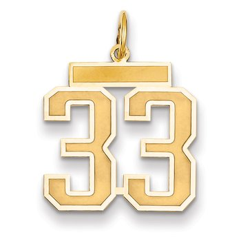 14k Medium Satin Number 33 Charm