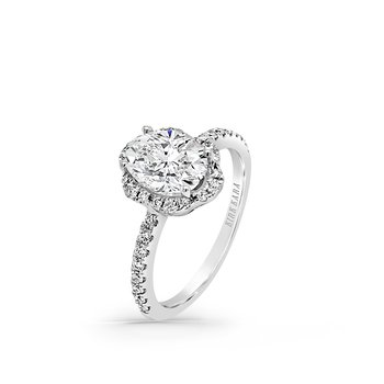 Home Try On Oval Halo Diamond Replica Engagement Ring