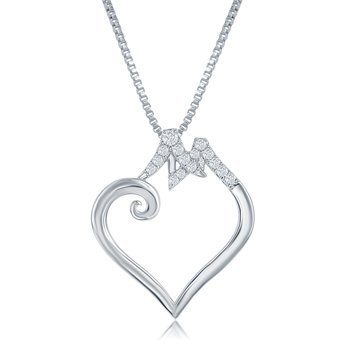 Large Diamond Bridge to Her Heart Necklace