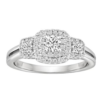 BLISS11: 14KW 1/2cttw 3 Stone Cushion Halo Engagement Ring