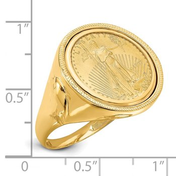 14ky Polished Eagle Side 16.5mm with 1/10AE Coin Ring
