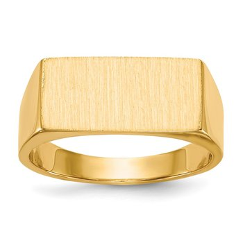 14k 8.0x16.5mm Closed Back Men's Signet Ring