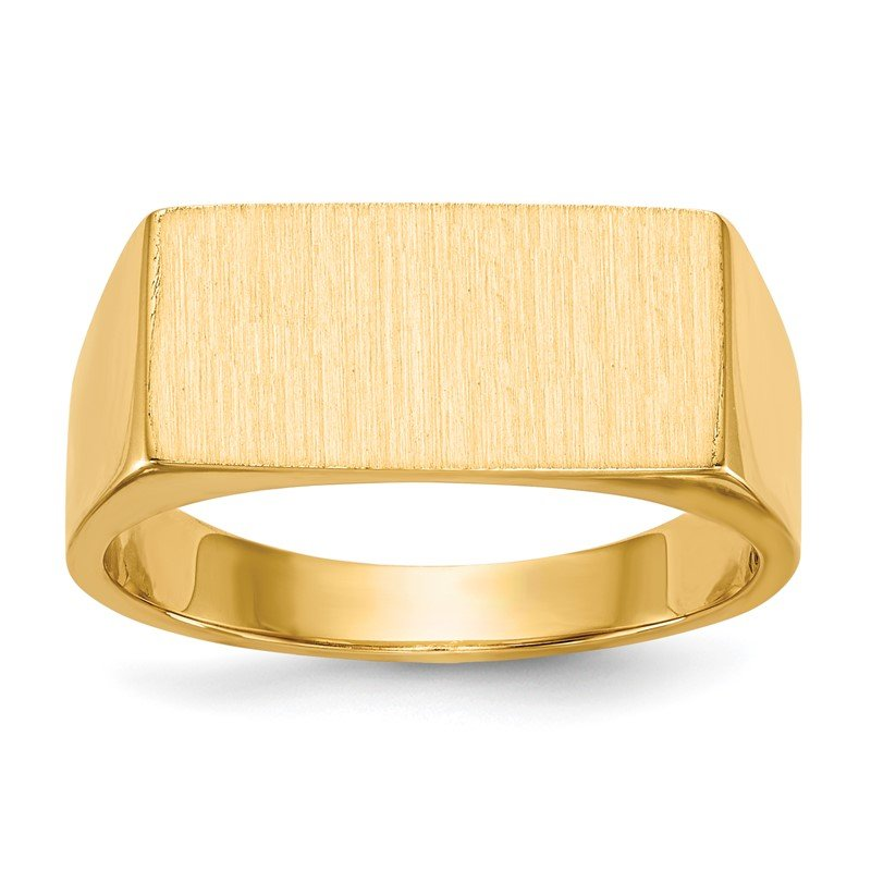 Quality Gold 14k 8.0x16.5mm Closed Back Men's Signet Ring