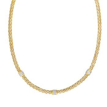 14K Gold Woven Diamond Station Necklace
