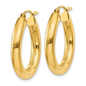 14k Polished 4mm Tube Hoop Earrings
